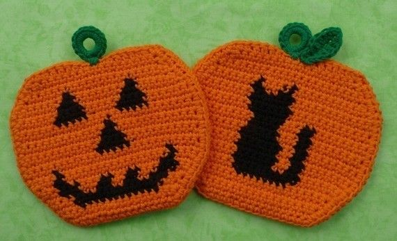 Halloween Pumpkin Potholders Crochet PATTERN Set - INSTANT DOWNLOAD ...