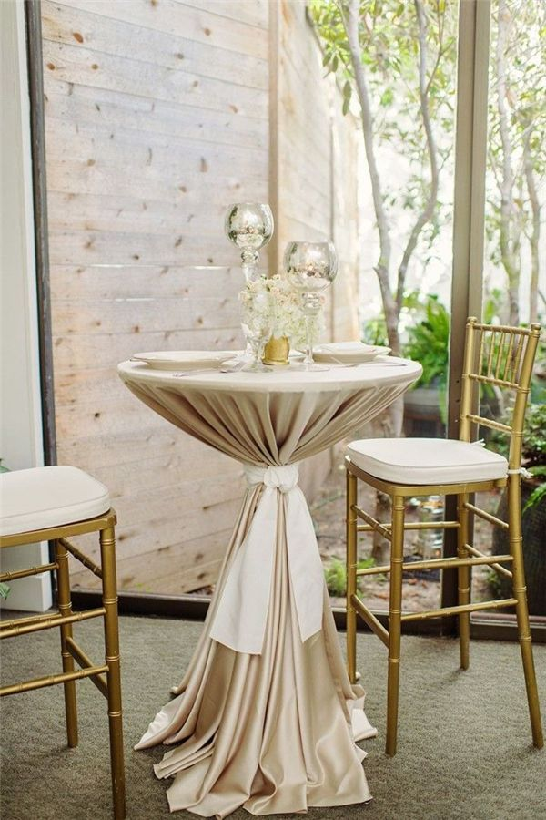 23 Elegant And Classic Champagne Wedding Ideas Wedding Cocktail Table Decor Wedding Table Linens Cocktail Table Decor