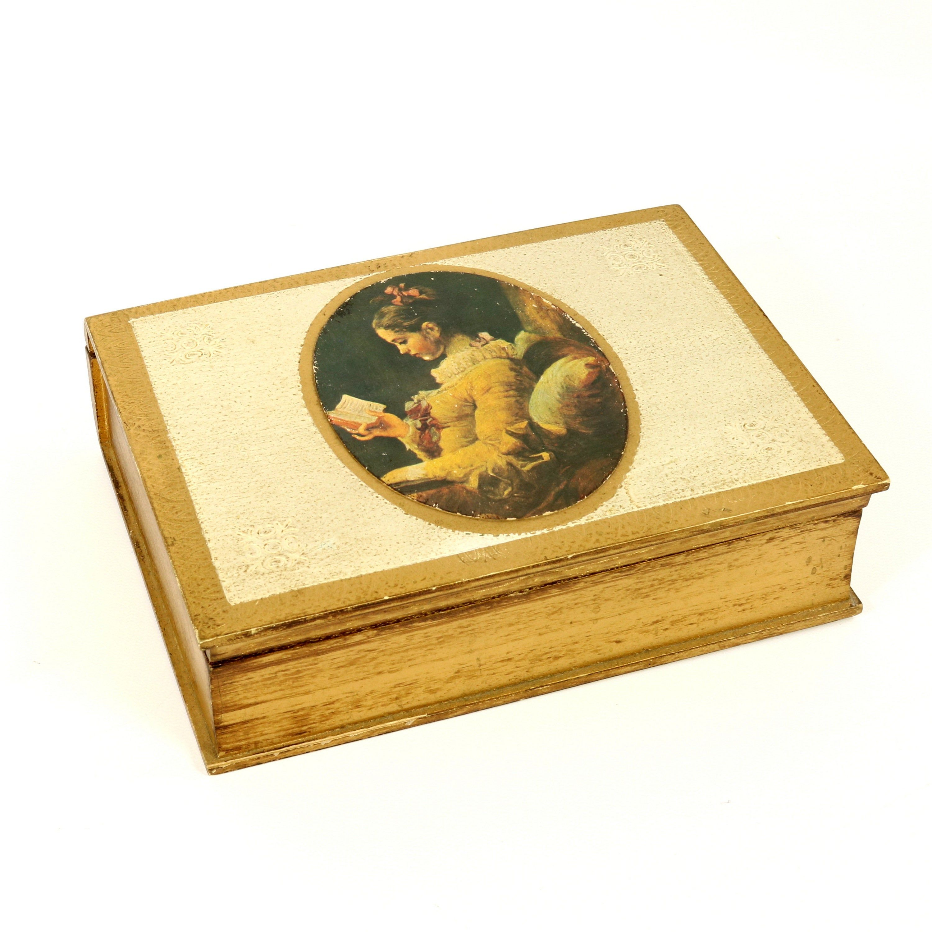 Antique Vintage French Faux Book Jewelry Box with Decoupage Girl