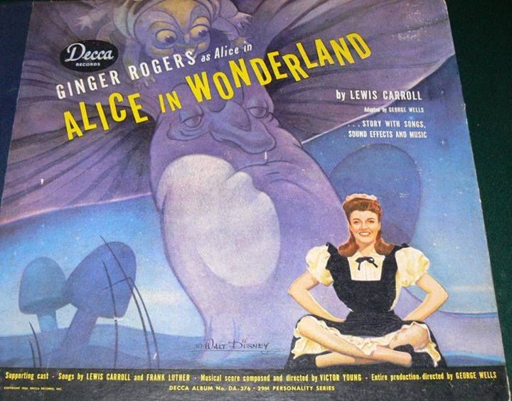 A set of 78 records featuring Ginger Rogers as Alice and artwork by Walt Disney