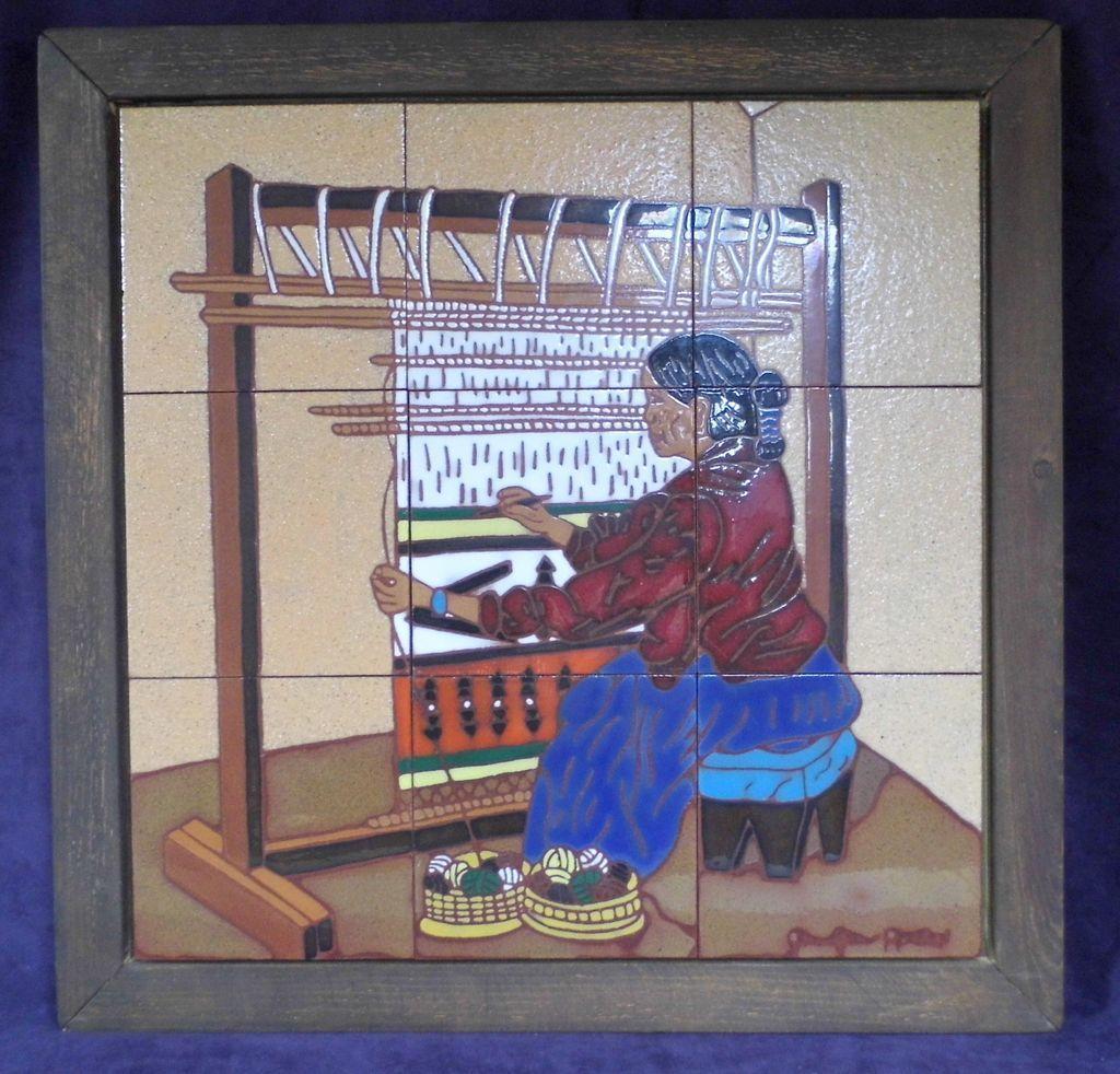 Colorful 21 territorial tiles of sante fe taos weaver loom