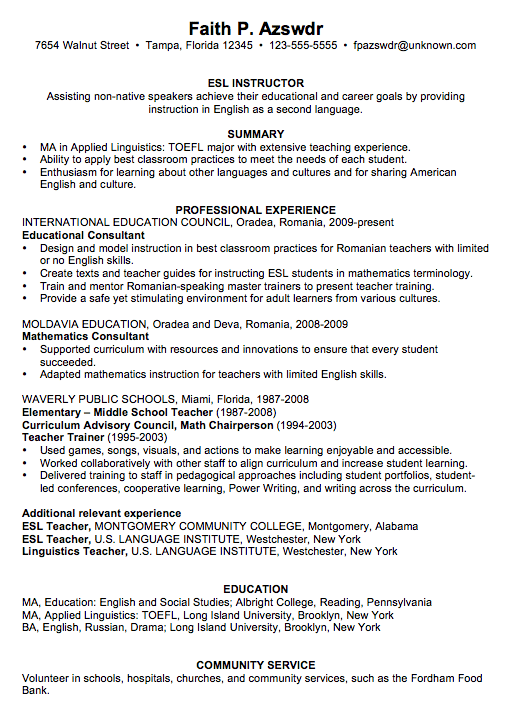 Sample Esl Teacher Resume Resume Example For An ESL Instructor   Susan  Ireland Resumes  Esl Teacher Resume Samples