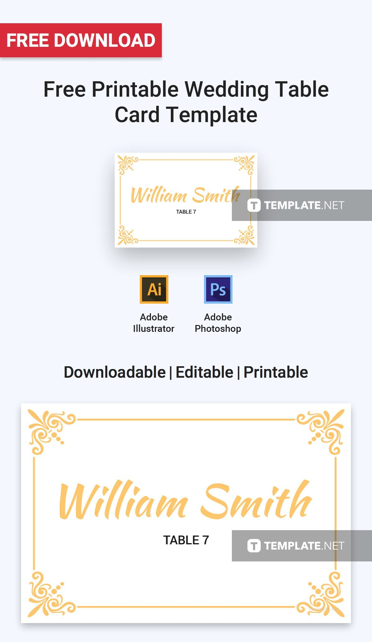 Printable Wedding Table Card Template Free Jpg Illustrator Word Apple Pages Psd Publisher Template Net Card Templates Printable Printable Place Cards Wedding Free Wedding Printables