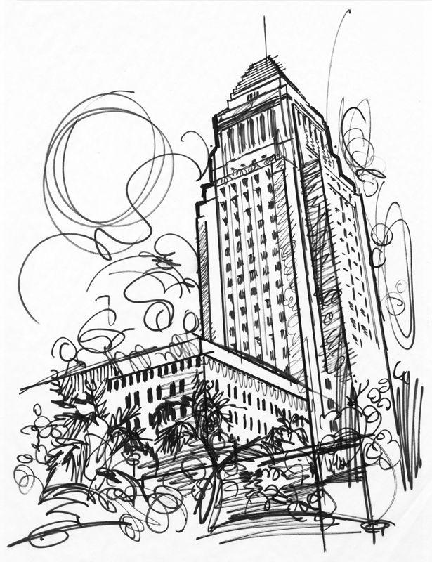City Hall, Los Angeles, illustration by Jake Marshall