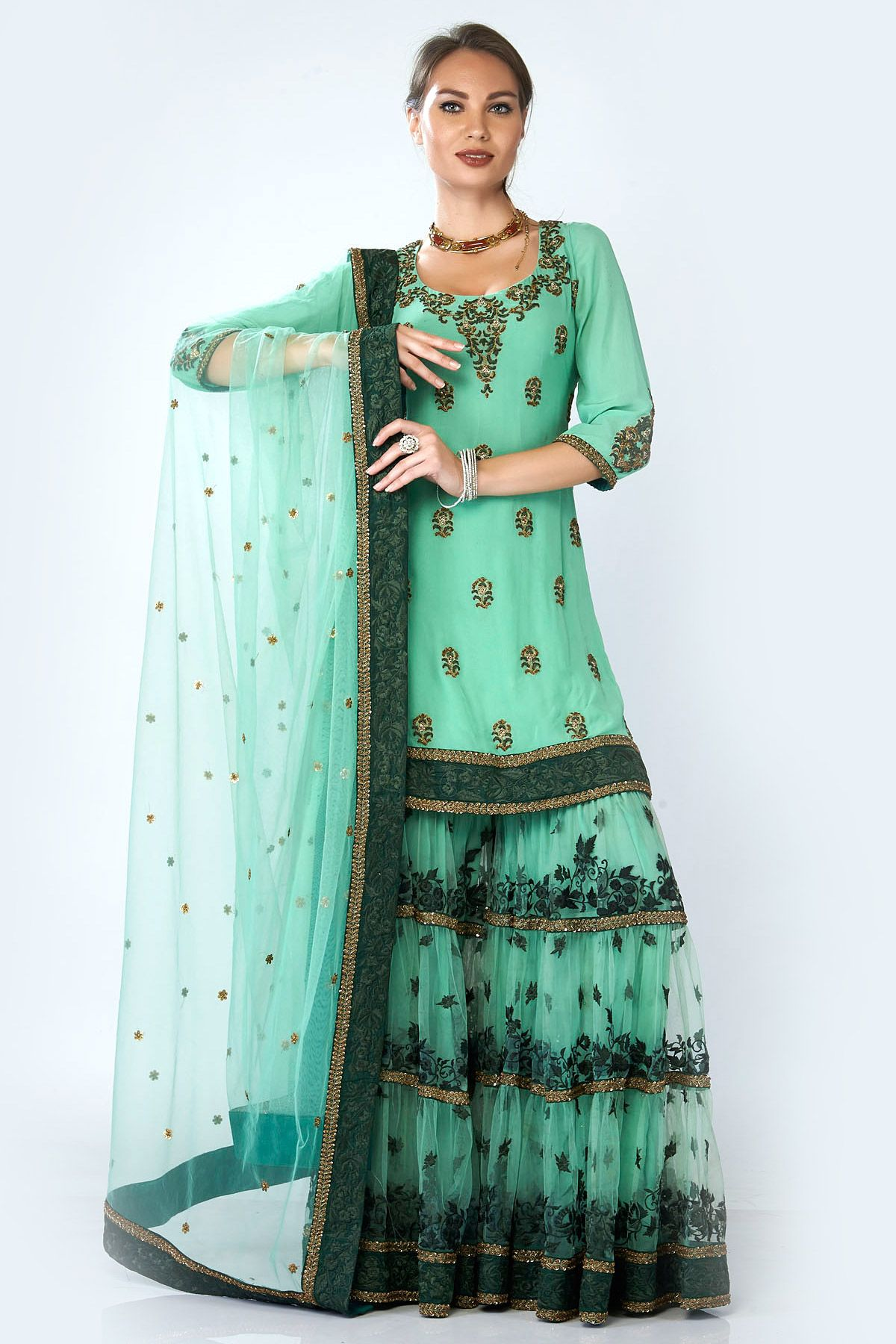Pista Green Gharara, Indian Suits, Designer, Latest, Online | Bridal ...