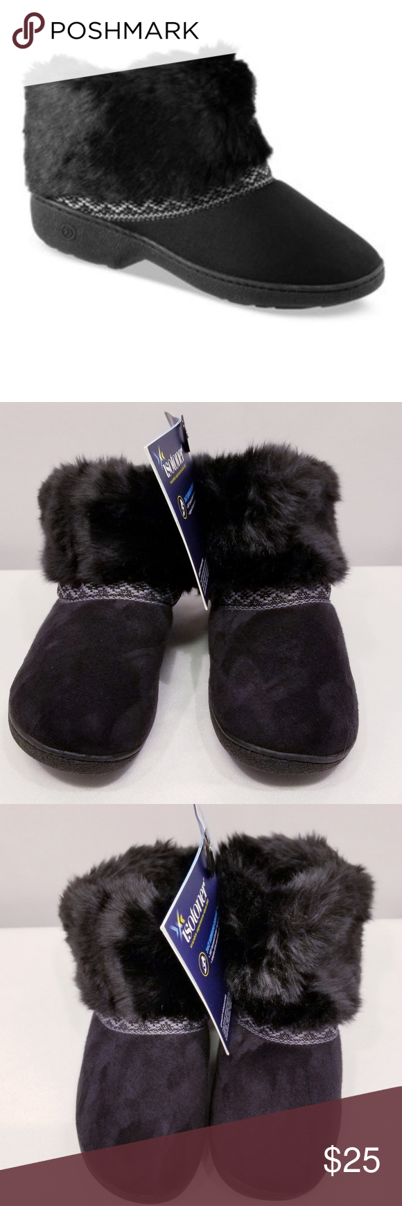 98e179013 ISOTONER Microsuede Basil Boot Slippers Jet black with design embroidered  strips across the front ankle.