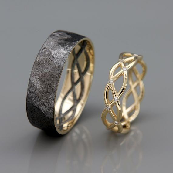 His and Hers Wedding Ring Set | 14k Gold Wedding Band Set with Dimoands | His and Hers Wedding Band Set | Black Rose Gold Ring #deptodublin