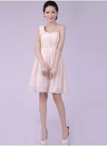 LOUISE - A-line Knee length Chiffon One shoulder Chinese Cheap Wedding Party Dress