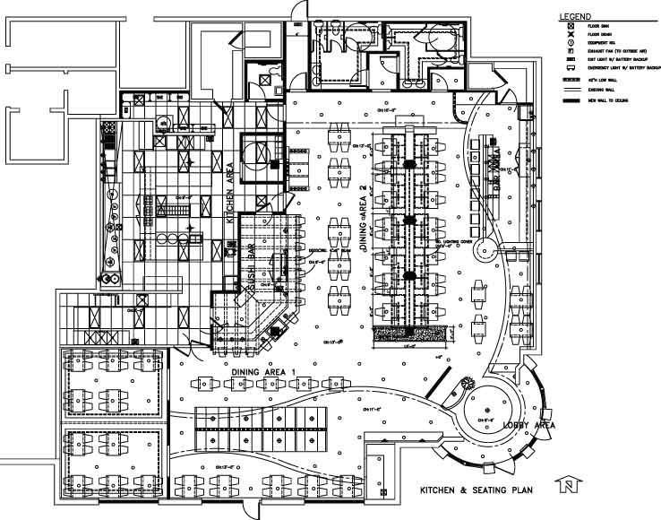 Restaurant Kitchen Layout Autocad restaurant floor plan with kitchen layout | restaurant design