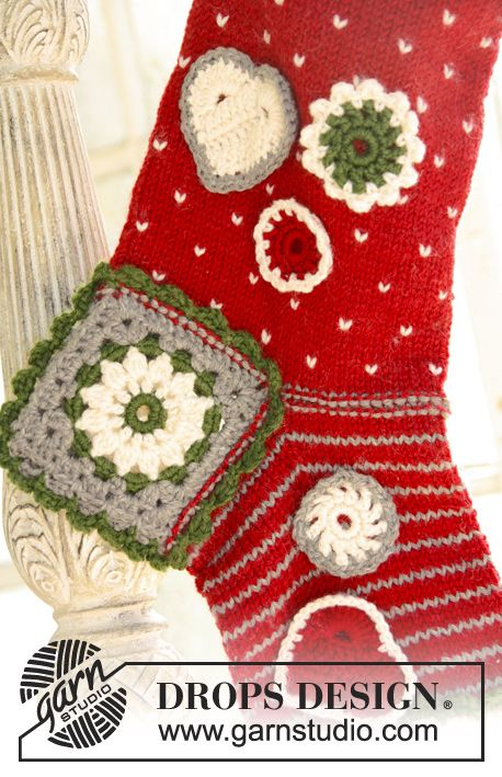 "Knitted and crochet DROPS Christmas stocking in ""Karisma"". ~ DROPS ..."
