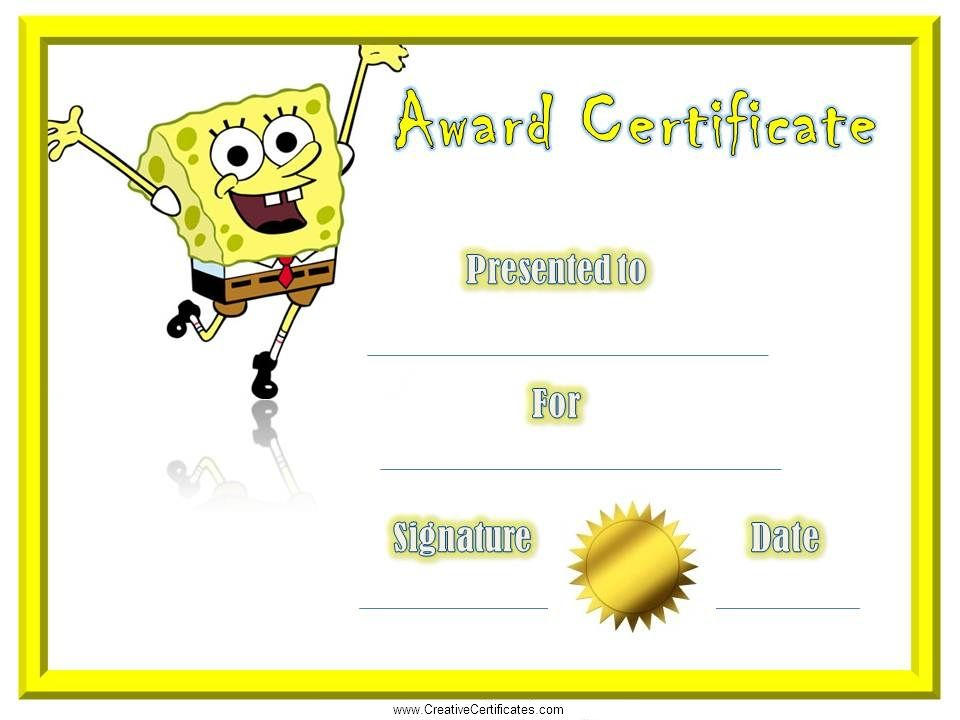 award-certificate-spongebobjpg (960×720) Cerfiticates - award of excellence certificate template