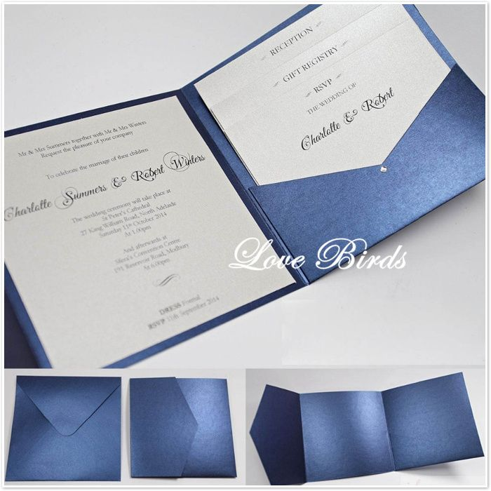 Navy Blue Shimmer Paper Square Pocket Wedding Invitation Card Lb950 In Make Your Own Wedding Invitations Square Wedding Invitations Pocket Wedding Invitations