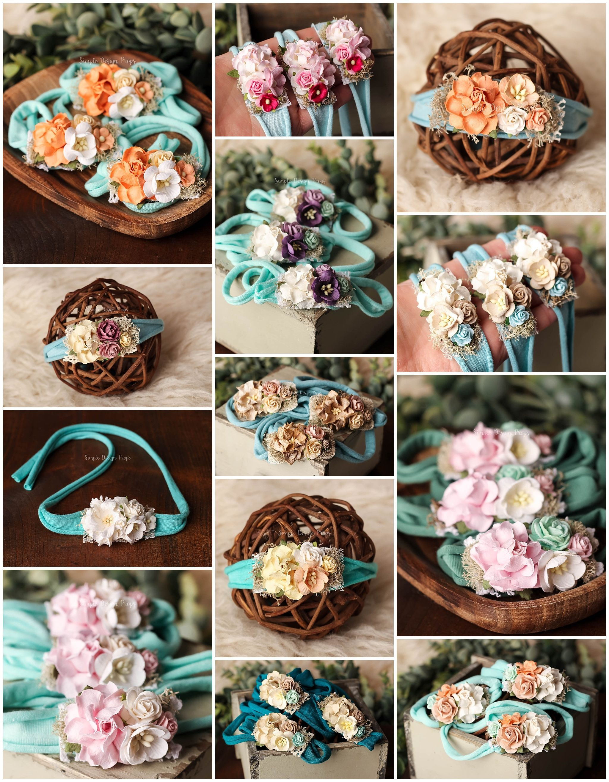 for baby newborn and sitter RTS flower tie back in teal and white photo prop