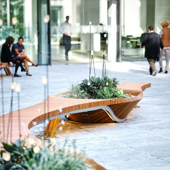 Mobilier urbain design banc bench vegetal bois for Mobilier urbain espace public