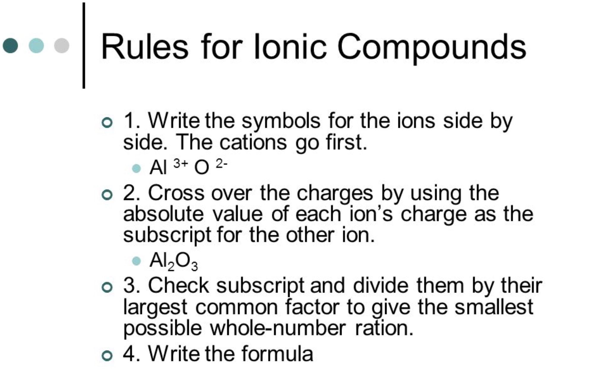 Rules For Ionic Compounds