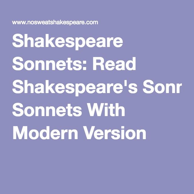 Shakespeare Sonnets In Modern English Shakespeare Sonnets