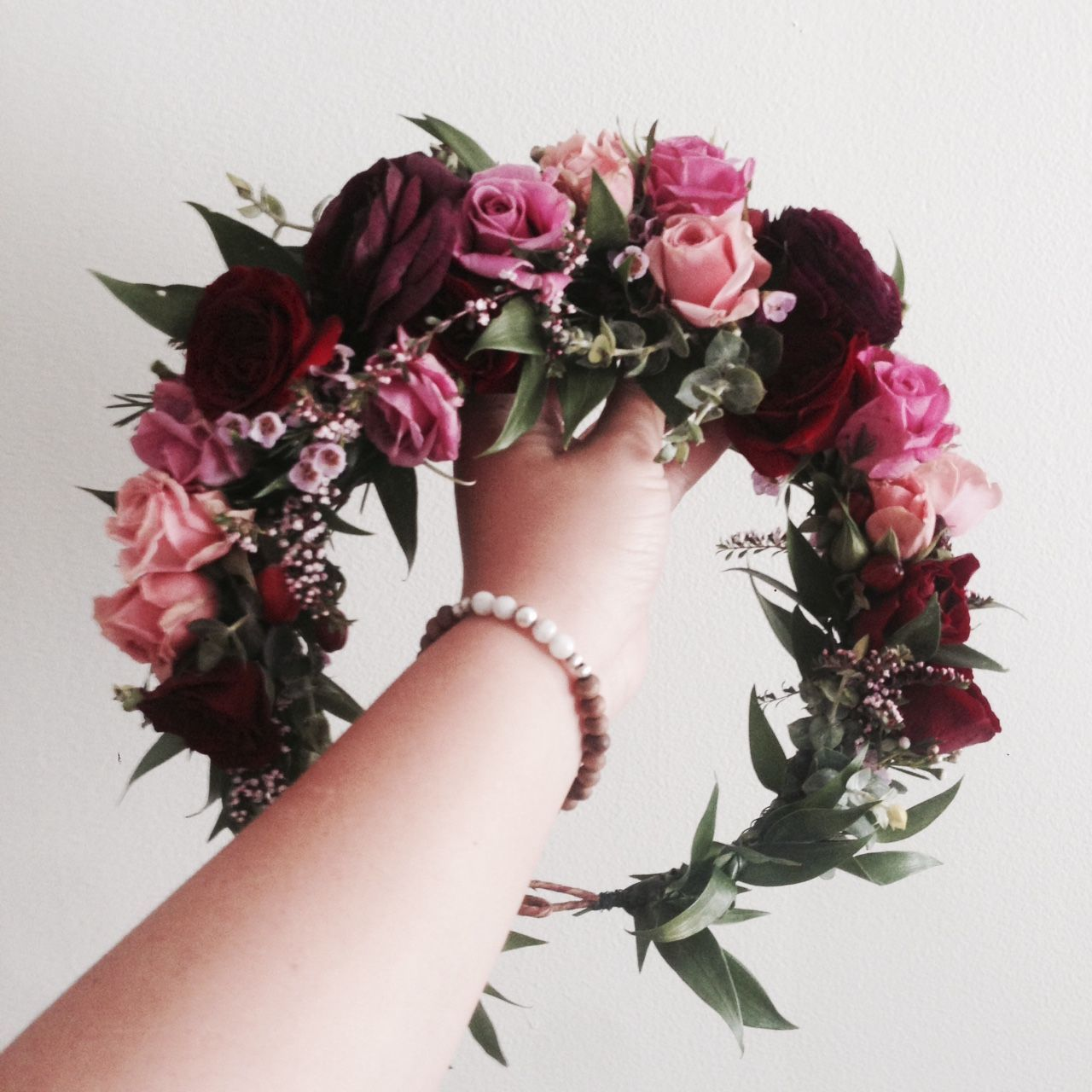 The Melissa No 2 Crown Burgundy Purple Ranunculus Mixed Shades Of Blush Pink And Two Toned Foliage Www With Images Flower Crown Wedding Pink Flower Crown Flower Crown