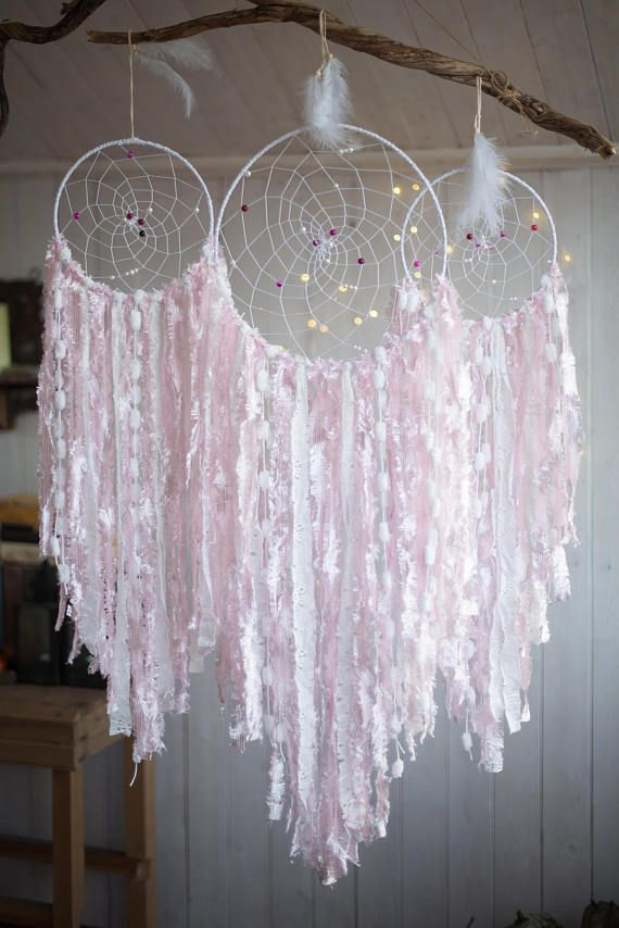 3 Pieces Wall Decor For Living Room: Pink Dreamcatcher Set 3 Pieces, Wall Hanging Catchers Set