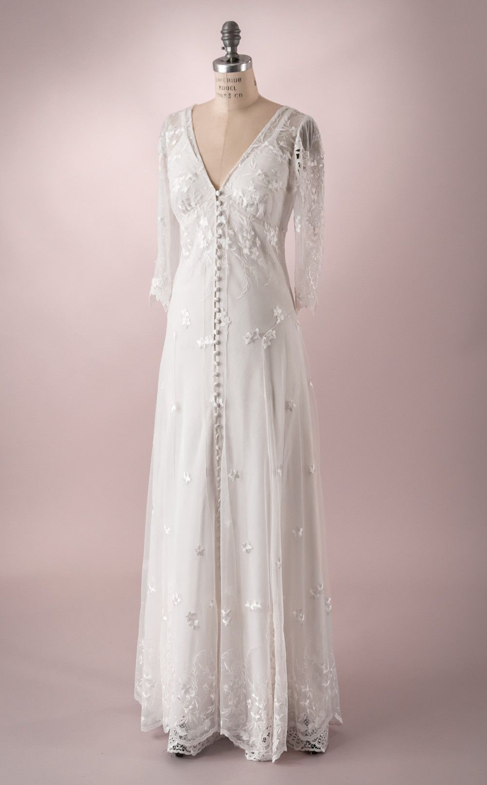 Hazel by Martin McCrea   Wedding dress of embroidered tulle with ...