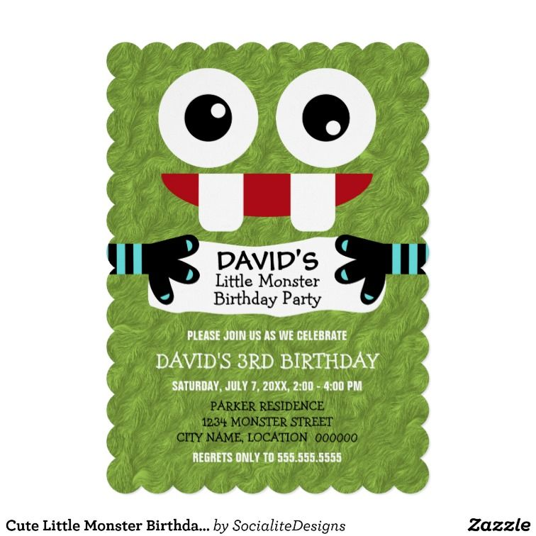 Cute Little Monster Birthday Party invitation for a child