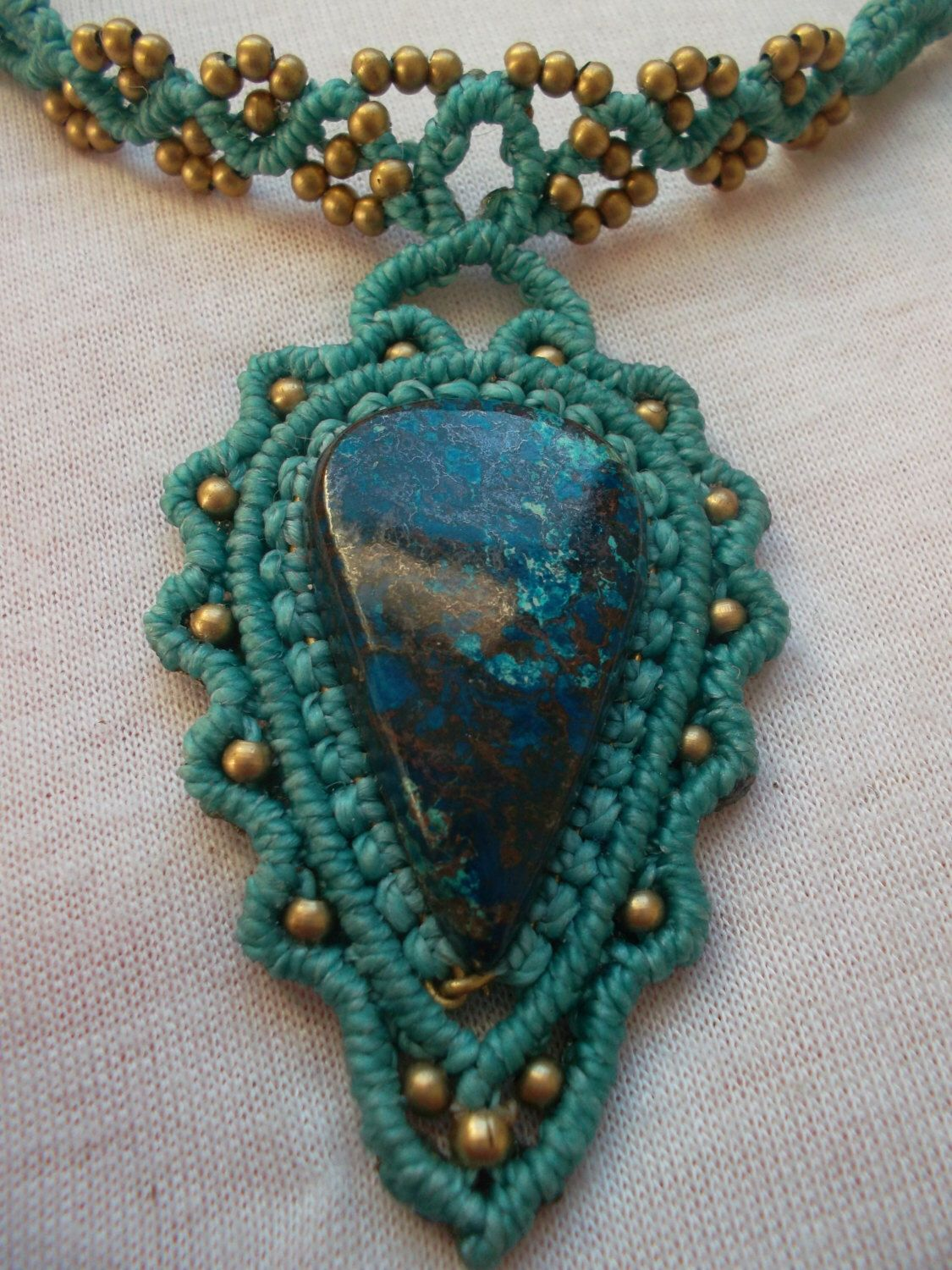 Sattuckite crimped in macramé made whit waxed thread and brass by LunaticHands on Etsy https://www.etsy.com/listing/227950094/sattuckite-crimped-in-macrame-made-whit
