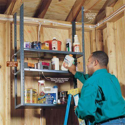 upside down shelves make neat and fast storage for your shop by bolting together a