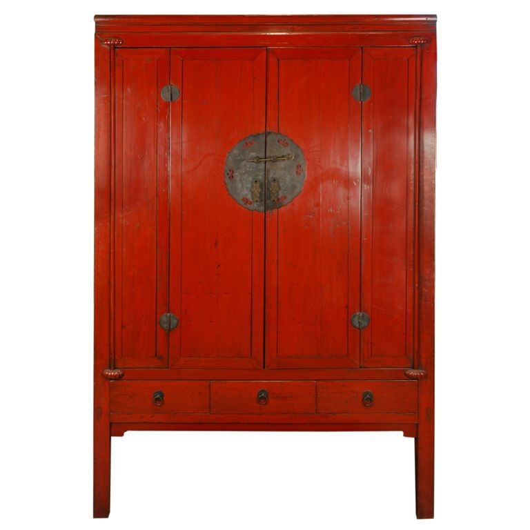 19th Century Chinese Red Lacquer Cabinet | Modern cabinets ...