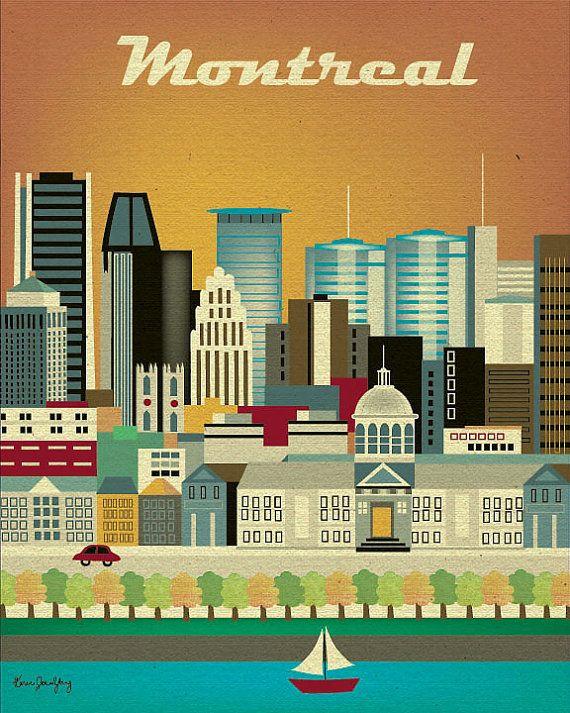 Montreal, Canada Skyline - 8 x 10 Vertical Retro Travel Original Art ...