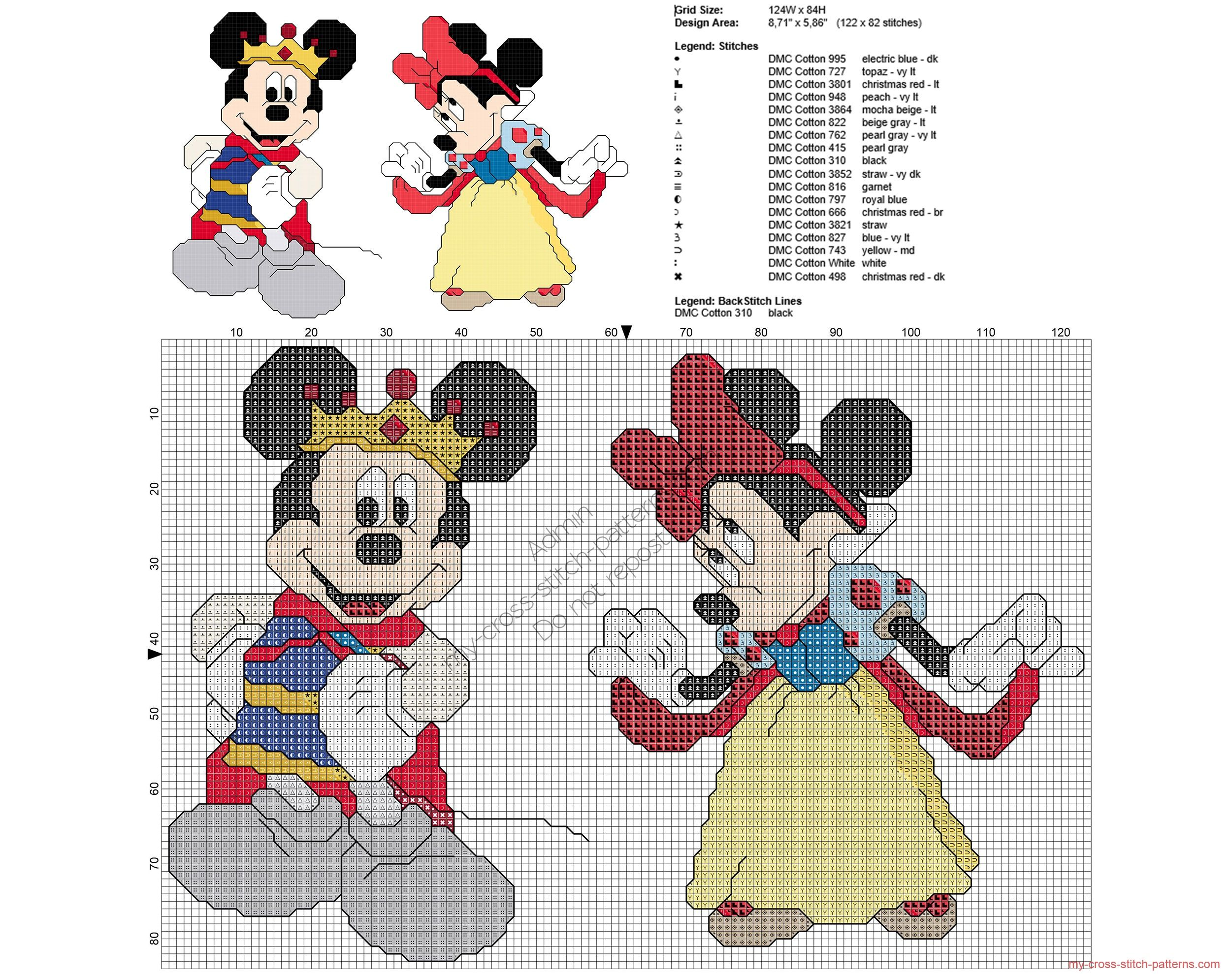 Disney Mickey and Minnie Mouse as Snow White cross stitch pattern ...