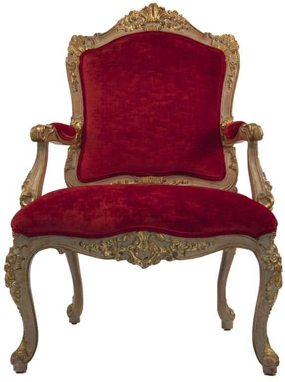 Pair of Louis XV Style Open Armchairs From a unique collection of