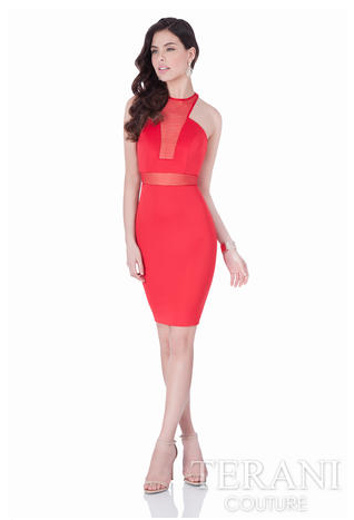 Jersey Cocktail Dress With Mesh Cutouts Perfect For Prom Homecoming