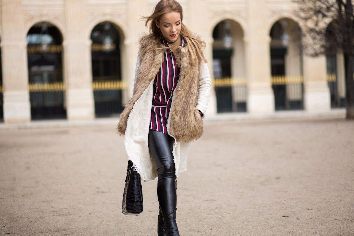 PFW LOOK #6 — Silver Girl wearing a faux fur vest, leather trousers from Helmut Lang and Armani handbag. Street Style Paris Fashion Week Fall Winter 2016