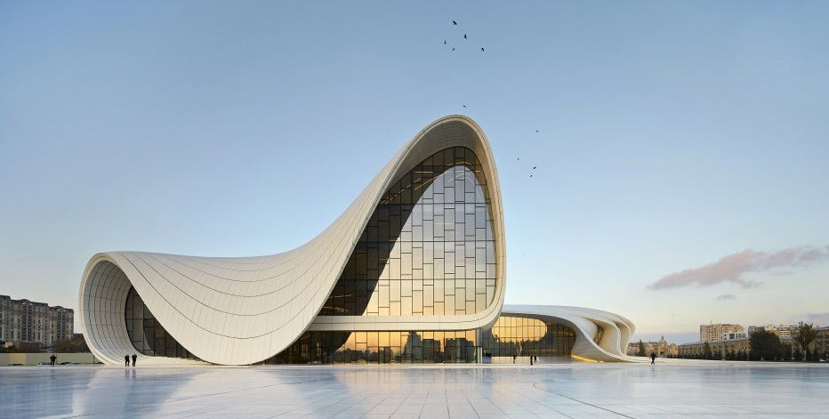 The Heydar Aliyev Center in Baku, Azerbaijan, which won the London Design Museum's Design of the Year award in 2014, embodies Hadid's signature, voluptuous, design aesthetic.