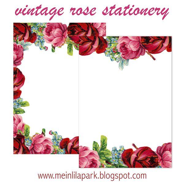 Free printable vintage rose stationery - ausdruckbares Briefpapier - freebie   MeinLilaPark – digital freebies