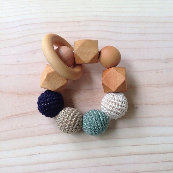 Navy Teal Tan Cream and Wood Teething Ring by OhJustDandy on Etsy