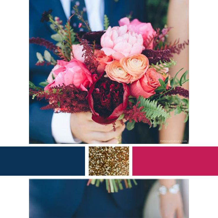 5 fuschia pink wedding palettes for your wedding day june bug Wedding Colors Navy And Pink wedding color scheme inspiration navy, raspberry, and gold wedding colors navy and pink