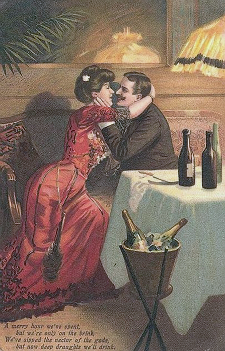 Vintage couple blowing