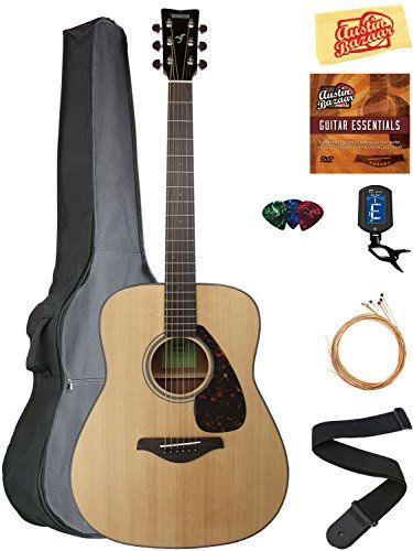 Yamaha Fg800 Acoustic Guitar Bundle With Gig Bag Instructional Dvd Tuner Strap Strings Picks And Polishing Cloth Natural Gitar