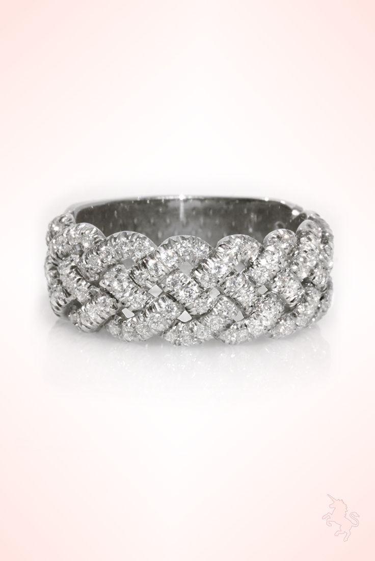 Braided wedding band 08 ct diamond wedding ring 14k