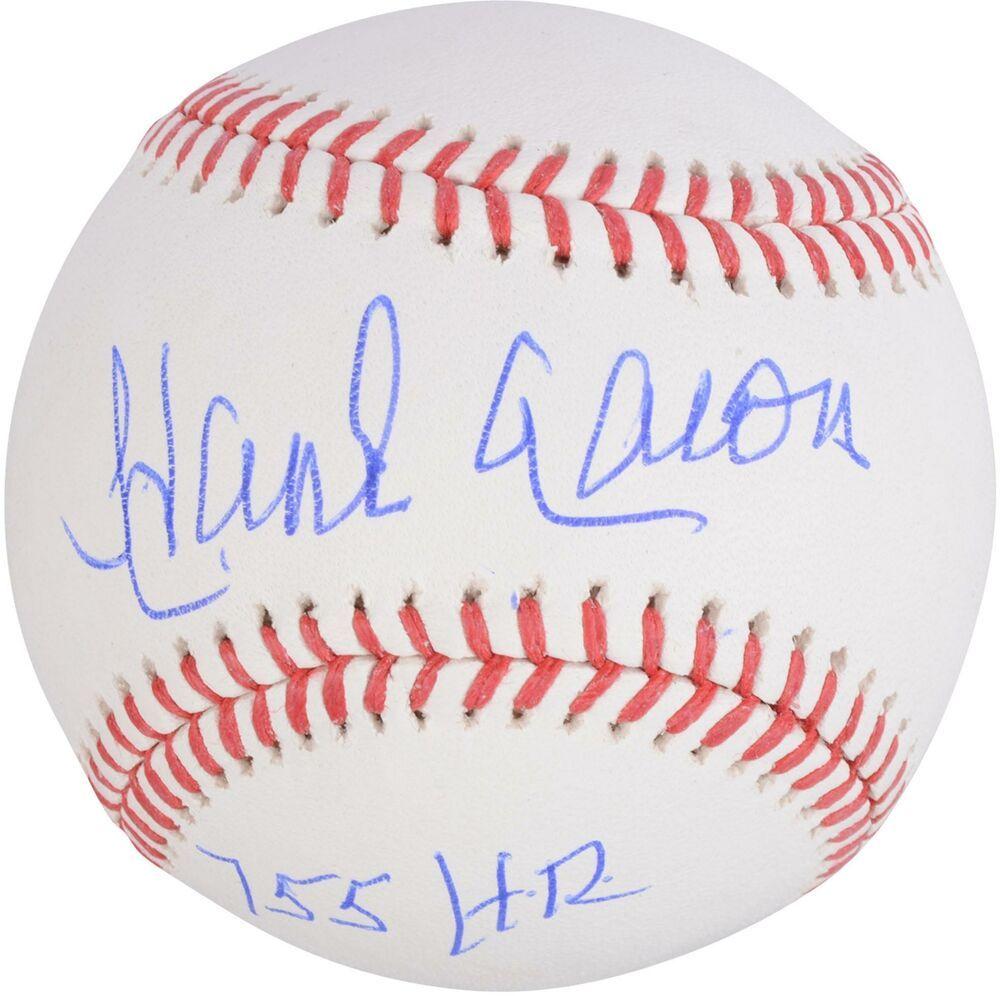 Hank Aaron Atlanta Braves Autographed Baseball With 755 Hr Inscription Sportsmemorabilia Autograph Baseball Atlanta Braves Braves Autographed Baseballs