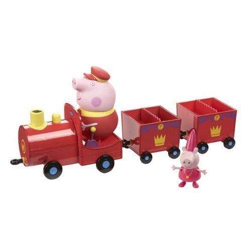Peppa Pig Princess Peppas Royal Train Toy by Peppa Pig. $55.99. All aboard Princess Peppa's royal train! Push Princess Peppa and grandpa pig along on their train journey and push down on grandpa's head to hear him speak. Age range 3 years.