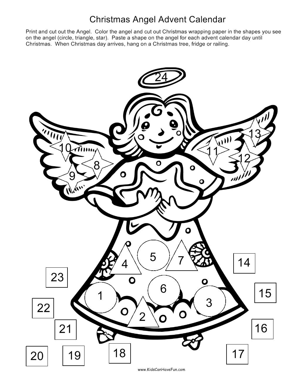 Christmas Advent Angel Calendar Christmas activities
