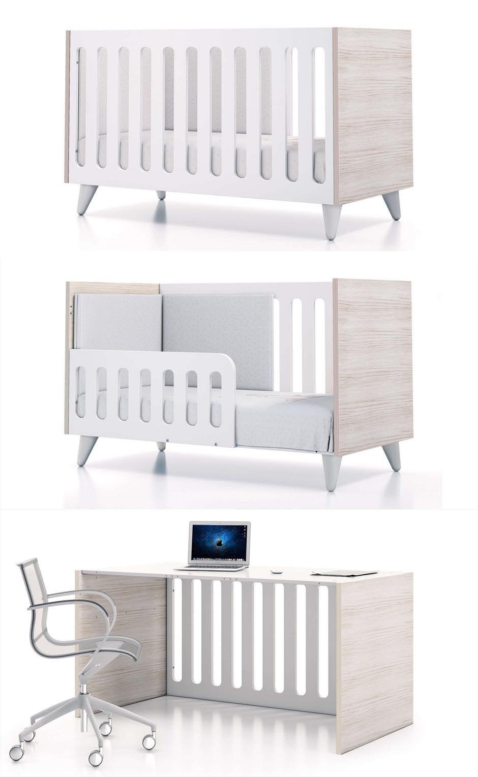 Habitaciones infantiles estilo n rdico cuna de bebe 70x140 alondra evolutiva convertible en - Habitaciones cuna convertible en cama ...