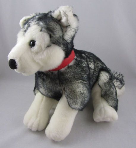 Gund Black White Siberian Husky Plush Stuffed Dog Animal Red