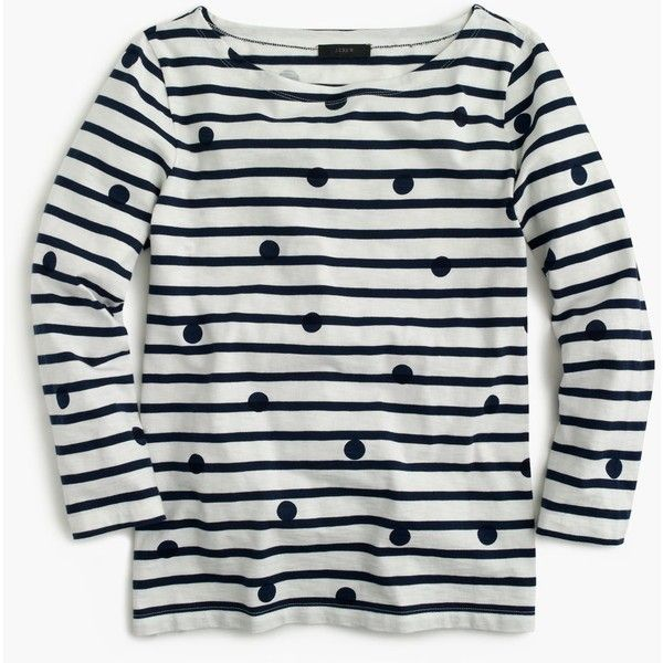 3d95710d4c37 J.Crew Boatneck T-Shirt ($53) via Polyvore featuring tops, t-shirts, boat  neck tee, cotton tee, polka dot t shirt, polka dot tee and boat neck t shirt