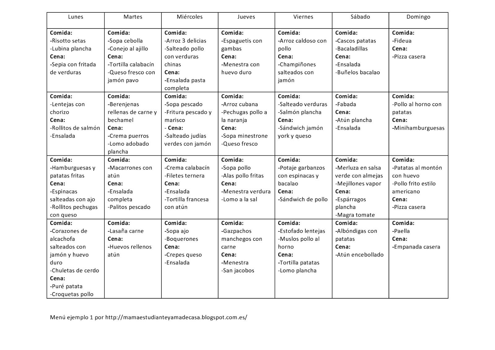 ejemplo de menu saludable para la semana