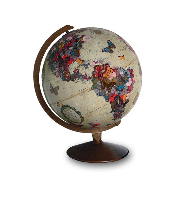 """WOW! I want one - just not at that price! What a great way to keep loving old globes though.    """"Artwork will be sized and colorized to match each unique globe.  Remember, the globes have all had prior lives, so expect to see some """"character."""" Also, because of their age, many of the globes are no longer geographically accurate.     All artwork is hand-cut, decoupaged on, and then finished."""""""