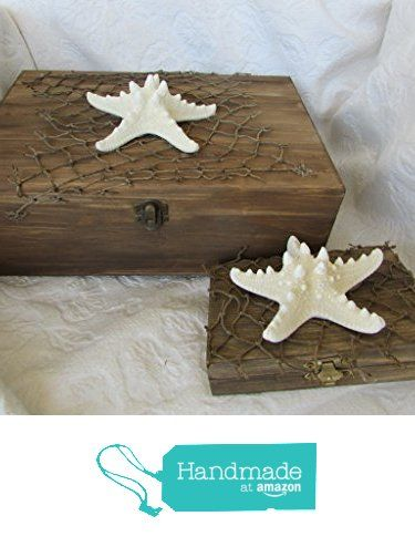 Rustic Stained Aged Nautical Beach Card and Ring Box Set HIS HERS divided…