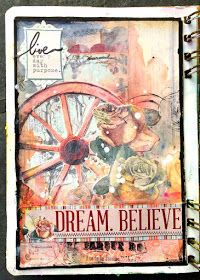Art Journal Pages by Solange Marques featuring BoBunny Bella Rosa collection and Gesso white