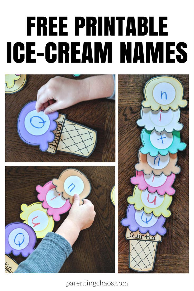 IceCream Scoops Name Printable for Kids Ice cream